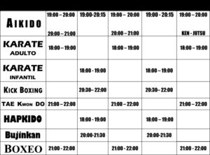 horario actividades artes marciales Cesaru laguna
